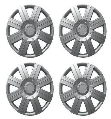 "15 Inch Universal Wheel Trims Car Covers Hub Caps Silver Plastic 15"" Set Of 4"