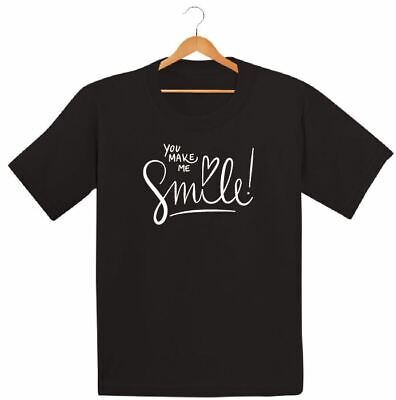 Make Me Smile Printed Kids Boys Girls T Shirts Summer Be Happy Holiday Tee