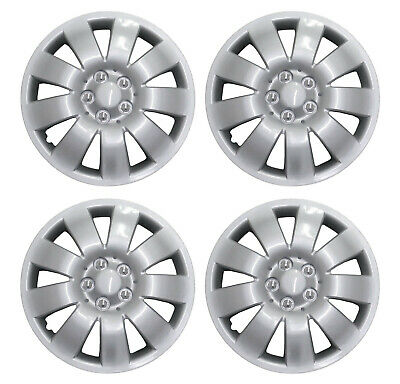 "16 Inch Universal Wheel Trims Car Covers Hub Caps Silver Plastic 16"" Set Of 4"