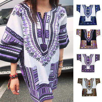 Fashion Womens Traditional African Print Dashiki Dress Party Tops Shirt Blouse