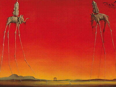 212329 SALVADOR DALI Red Elephants Decor PRINT AU