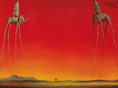 212686 SALVADOR DALI Red Elephants Decor PRINT AU