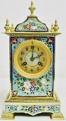 Stunning Antique French 8 Day Bronze Ormolu & Champleve Enamel Mantle Clock