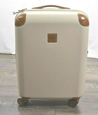 "Bric's USA Amalfi 21"" Hardside Carry-On Spinner Luggage Suitcase Cream Leather"