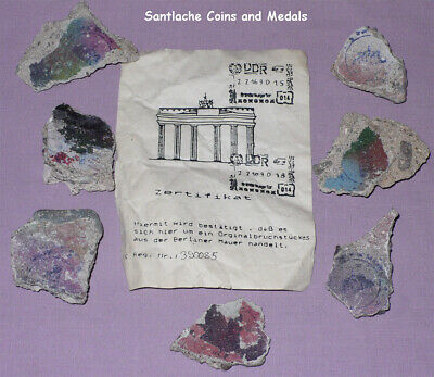 Seven Original Pieces Of Berlin Wall With Official Ddr Certificate