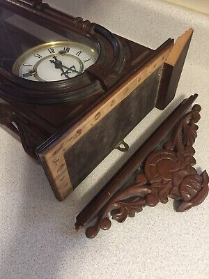WOODEN -31 DAY WIND-UP Chiming WALL CLOCK . Chimes . Swinging Pendulum For Parts