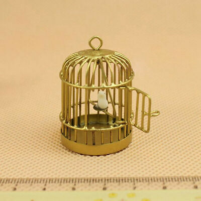 Metal Bird Gold Cage W/ White Bird For 1/12 Dollhouse Low Miniature Price Y0O1