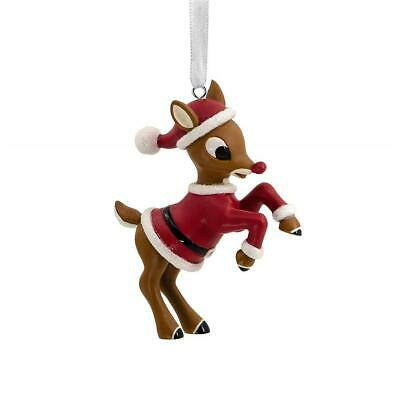 2019 Hallmark Rudolph The Red-Nosed Reindeer in Santa Suit Christmas Ornament
