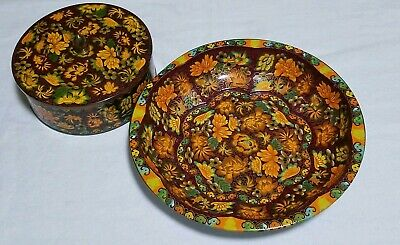 Lot-2 Daher Made In England Floral Autumn Flowers Orange Brown Tin & bowl platte
