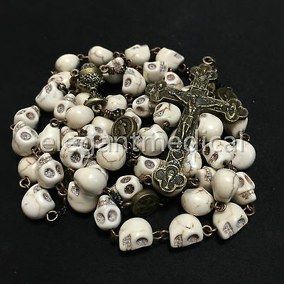 Catholic Vintage XL10MM howlite skull beads Rosary Cross crucifix Necklace GIFTS