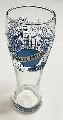 Rare Blue Moon Brewing Company Illustrated Denver, Co Contoured Beer Glass -14oz