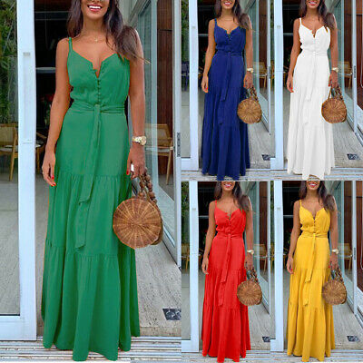 Women Summer Boho Sleeveless Strappy V-neck Bandage Party Beach Long Maxi Dress