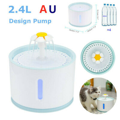 2.4L LED Electric Pet Water Dispenser USB Drinking Fountain for Dogs and Cats AU