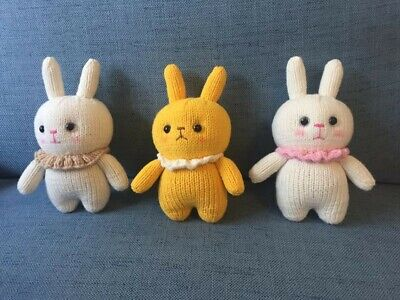 Handmade knitted small bunny (White and yellow colour)
