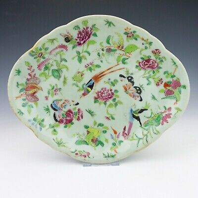 Antique Chinese Cantonese Porcelain - Hand Painted Birds & Insects Dish