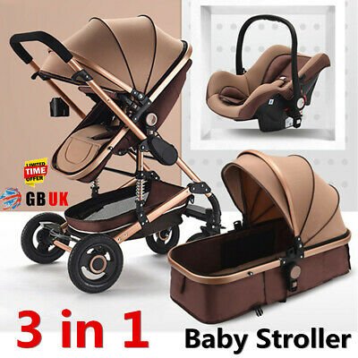 3 IN 1 Folding Newborn Baby Pram Stroller High View Carriage Buggy With Car Seat
