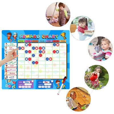 Reusable Behaviour Reward Chart Blue/Pink, free Star Stickers, pen MAGNETIC BACK