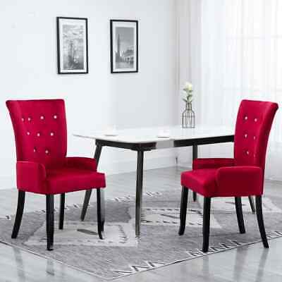 Vidaxl Dining Chair with Armrests Red Fabric Bedroom Chair French Style Chair