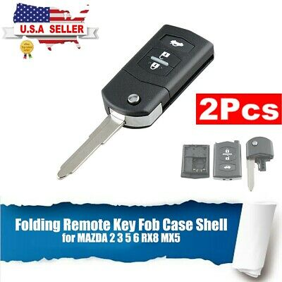Remote Car Key Fob Case Shell Replacement for MAZDA 2 3 5 6 RX8 MX5 Folding Flip