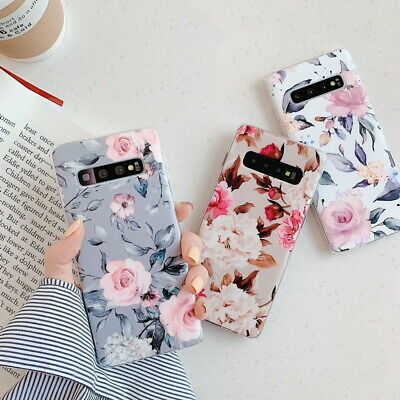 For Samsung Galaxy S10 Plus S9 A40 A50 Luxury IMD Flowers Rubber Slim Case Cover