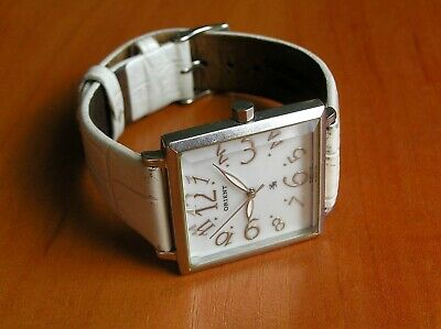 ORIENT Square Stainless Steel Case White Classic Japanese Quartz Watch HY 520
