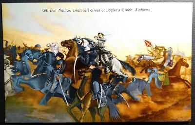Postcard Military Art - General Nathan Bedford Forrest Bogler's Creek Alabama