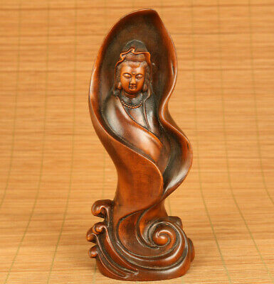 Rare unique chinese old boxwood hand carved blessing kwan-yin statue netsuke