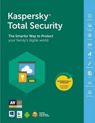Kaspersky total Security 2019 1 PC/1 Year/UK/EU INSTANT Delivery