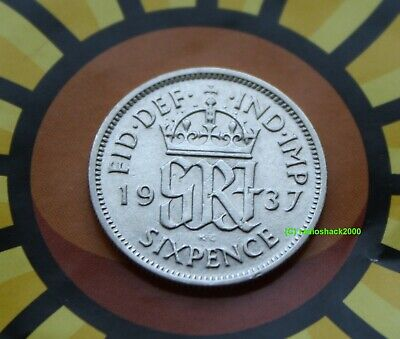 1937 King George V Lucky Sixpence 6d 50% silver. Wedding, Anniversary, Birthday.