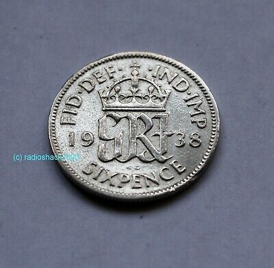 1938 King George V Lucky Sixpence 6d 50% silver. Wedding, Anniversary, Birthday.