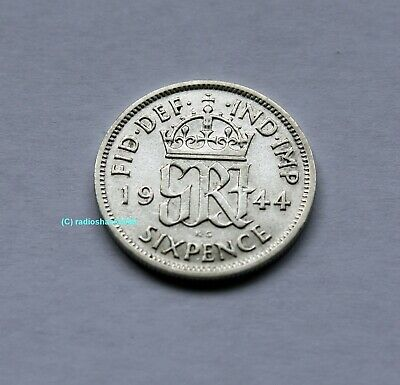 1944 King George V Lucky Sixpence 6d 50% silver. Wedding, Anniversary, Birthday.