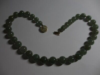 Fine Old Antique Chinese Jade / Jadeite Bead Necklace W/14K Clasp-Rare Beads! Nr