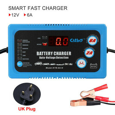 Electronic Car Battery Charger Portable 6V 12V 2A 6A Trickle, Vehicle Motorbike