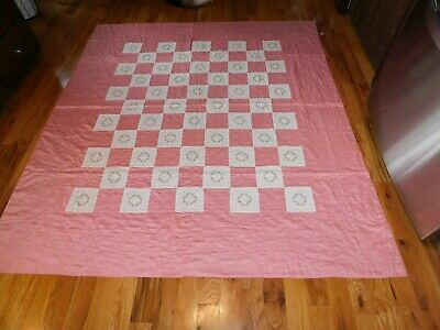 Floral Wreath Hand Embroidered Quilt Pink and White Handmade Hand Quilted Nice!