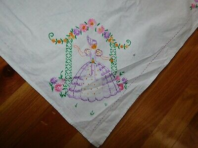 Victorian Lady Garden Trellis Tablecloth Hand Embroidered Handmade French Knots