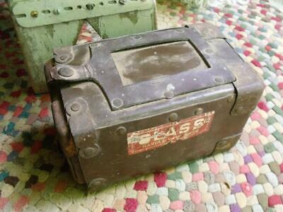 Small Old Primitive Vintage or Antique Mailing Box Leather or? Tin Corners COOL