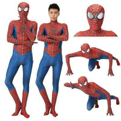 Adult Kids Raimi Spiderman Costume Spandex Halloween Cosplay Lycra Zentai Suit C