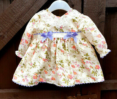 DREAM BABY GIRLS autumn cream lupin floral lined dress 0-2 years OR REBORN DOLLS