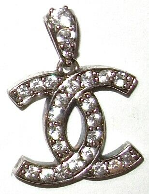 "VINTAGE Sterling Silver DOUBLE Intersecting ""C"" CHARM PENDANT w/CLEAR STONES #1!"