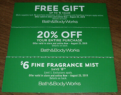 3 Bath & Body Works Coupons 20% Off + $6 Fragrance Mist Exp 8/25/2019