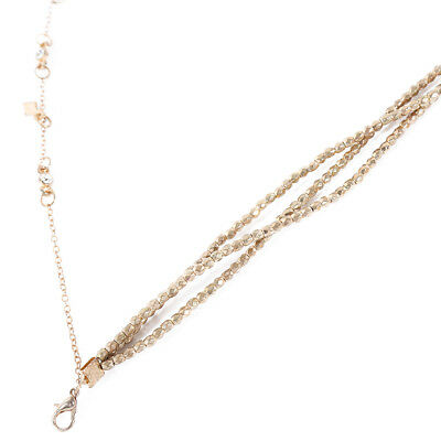 Gold Toned Double Layer Beaded Chain Choker Stars Pendant Jewelry Necklace BM