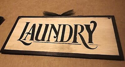 """Laundry Room wooden sign country primitive wood farmhouse wall art decor  5x12"""""""