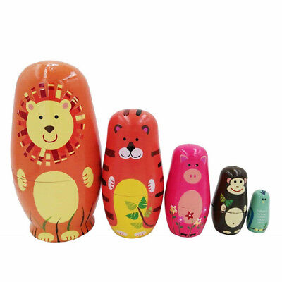 Unique Animal Russian Wooden Nesting Handmade Dolls Birthday Special Gift BM