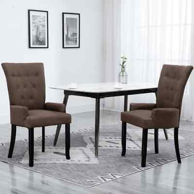 Vidaxl Dining Chair with Armrests Brown Fabric Bedroom French Style Chair