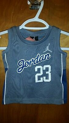 Michael Jordan 23 Boys Toddler Infant Gray Jersey Tank Top Size 12M