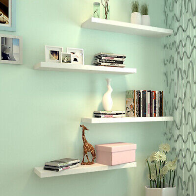High Gloss Floating Shelf Shelves Display Unit Wall Mounted Bookcase Wooden Mdf