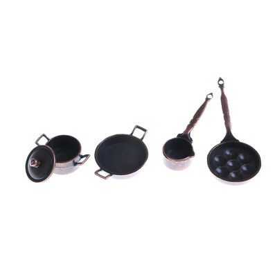 4Pcs Dollhouse Miniature Metal Cooking Pan Pot Set Kitchen Cookware Access+j