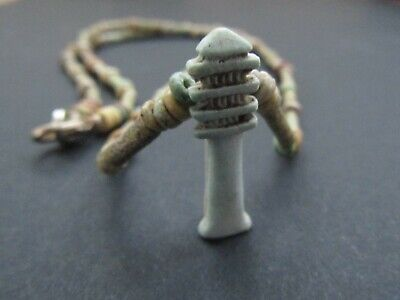 NILE  Ancient Egyptian Djed Amulet Mummy Bead Necklace ca 600 BC