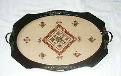 Vintage Tray - Wood with Embroidery & Openwork on Beige Linen under Glass