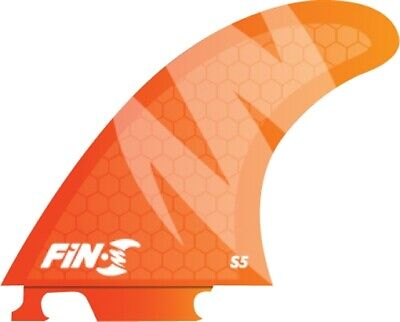 FIN-S S-5 HONEYCOMB NEON ORANGE 3 fins